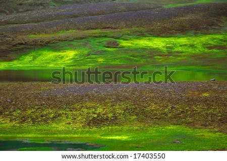 Green lake of hot water in fresh landscape, Iceland - stock photo