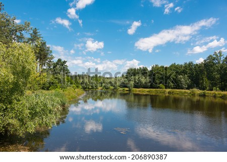 Green lake shore and blue sky reflected in water