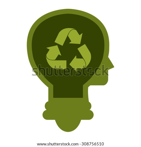 Green Lamp Head With Recycle Arrow Infographics Flat Icon, Sign Isolated on White Background