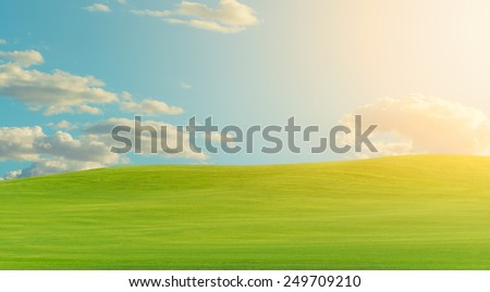 Green landscape during warm bright clear sky day, vibrant colors - stock photo