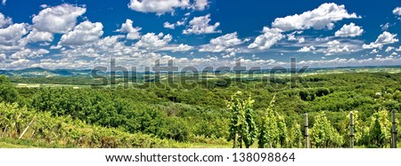 Green landscape panorama under blue sky, Prigorje region, Croatia