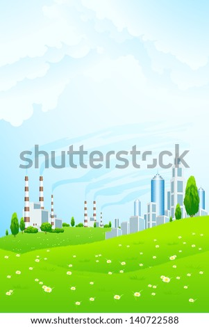Green Landscape with Business City, Clouds and Power Plant