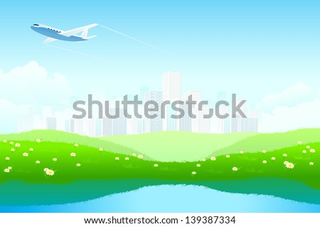 Green Landscape with City, aircraft, lake and flowers - stock photo