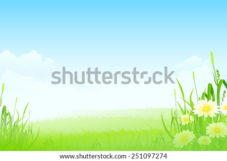 Green Landscape with clouds flowers and Grass - stock photo