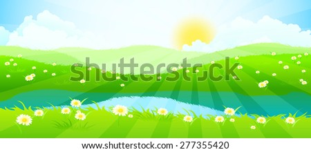 Green Landscape with Clouds, Flowers and River - stock photo