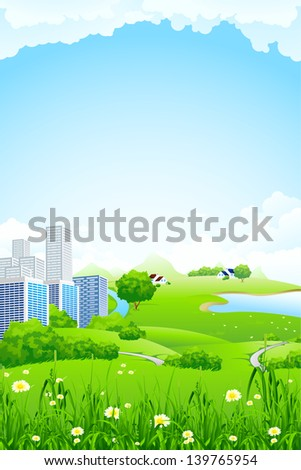 Green landscape with flowers grass lake and city - stock photo