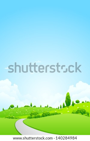 Green Landscape with  Flowers Trees Clouds and road - stock photo