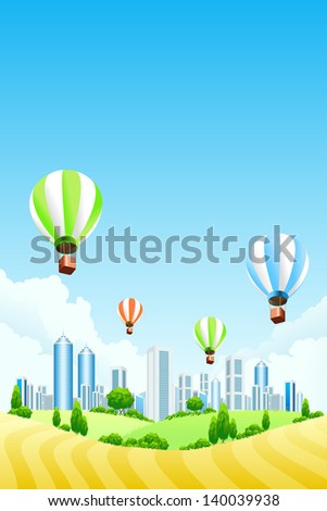 Green landscape with grass flowers and clouds - stock photo