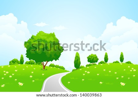 Green Landscape with hill tree road and flowers for your design