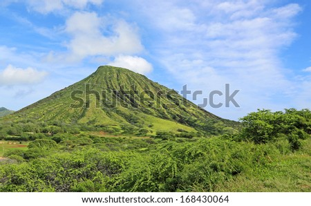 Green landscape with Koko Crater, Oahu, Hawaii - stock photo