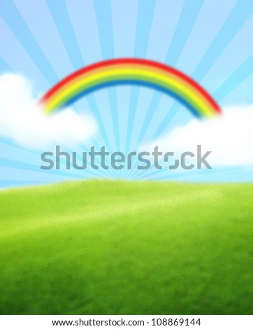 Green Landscape with Rainbow Blue Sky and Clouds - stock photo