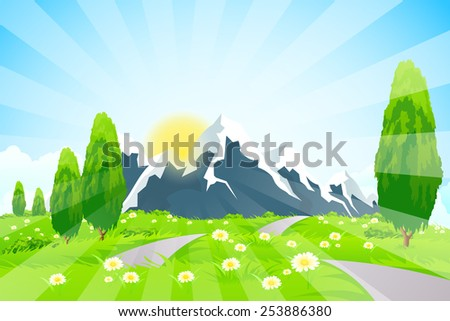 Green Landscape with Road Clouds and mountains - stock photo