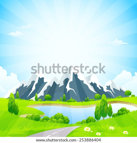Green Landscape with Road Clouds Lake and Mountains - stock photo