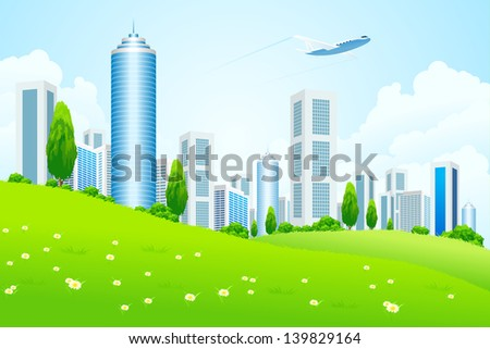 Green landscape with tree city and clouds - stock photo