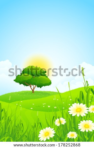 Green Landscape with Tree, Clouds and Flowers