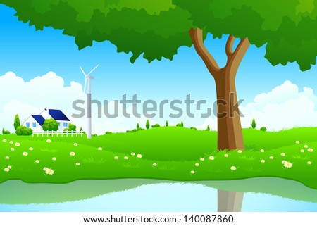 Green Landscape with Tree Wind Power Station House Flowers and lake for your design