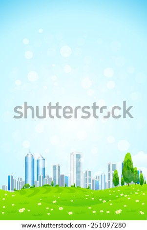 Green landscape with Trees, City and Clouds - stock photo