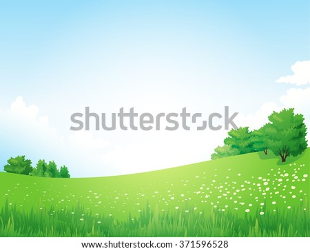 Green Landscape with trees clouds flowers  - stock photo