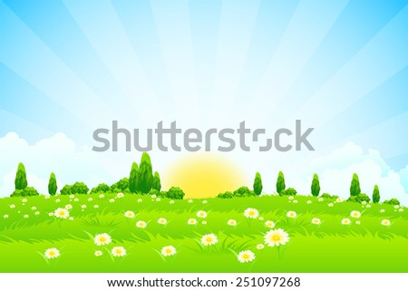 Green Landscape with trees clouds flowers and Sun