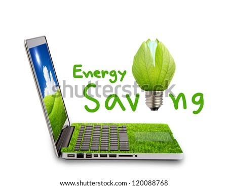 Green Laptop and light bulb isolated on white concept of saving energy - stock photo