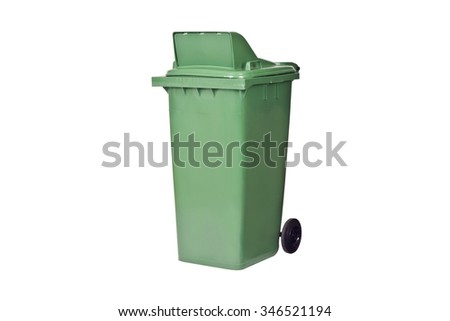 Green large trash cans (garbage bins) with wheel isolate on white background.