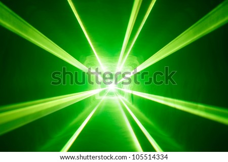 green laser light background with smoke - stock photo