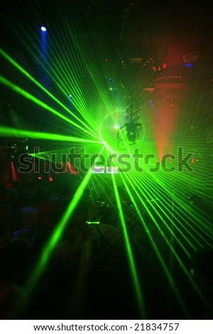 Green Laser - Night Club Music Event Party Laser Lights Background - stock photo