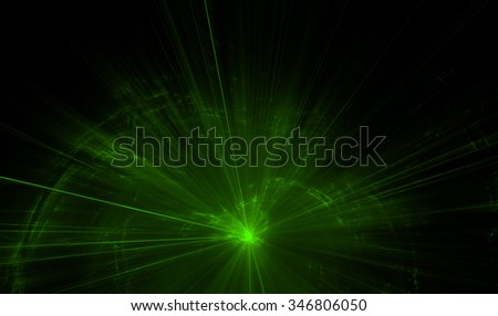 Green laser on black background - stock photo
