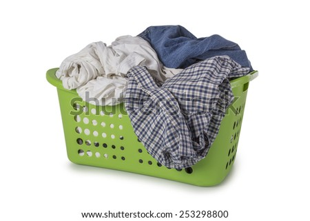 Green Laundry Basket filled with clothes isolated on white background - stock photo