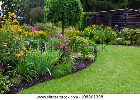 Garden stock images royalty free images vectors for Formally designed lawn