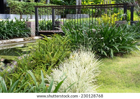 Green lawn in a colorful landscaped formal garden. Beautiful Garden. - stock photo