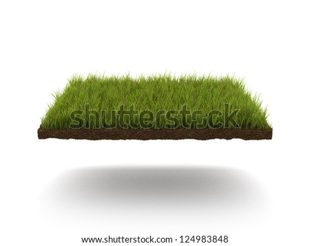 Green lawn isolated on a white background - stock photo