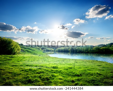 Green lawn near river in the forest - stock photo