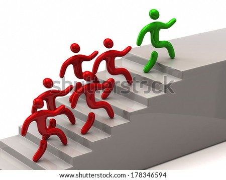 Green leader climbing up stairs - stock photo