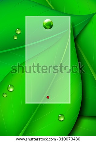 Green Leaf Background with Text Panel and Green World - Green Leaf Page Design, Environmental Background - Raster Version - stock photo