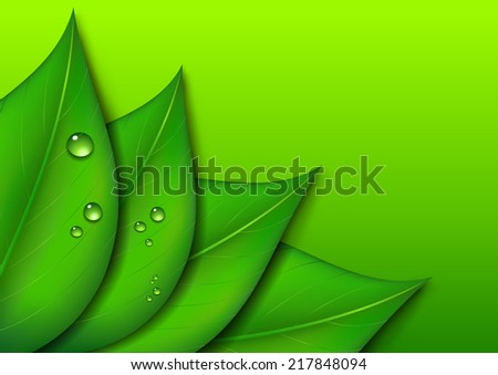 Green Leaf Design Environmental Background - Raster Version - stock photo