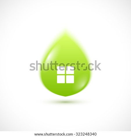 Green leaf house concept icon. - stock photo