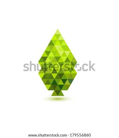 Green leaf mosaic design - stock photo