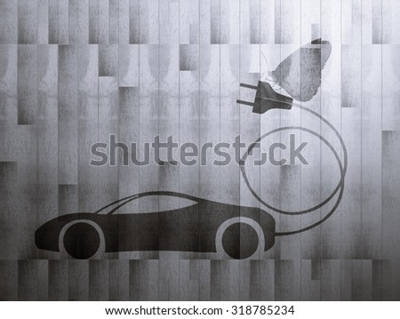 green leaf with a cut out car symbol on wood board background, Ecology concept, Black and White style - stock photo
