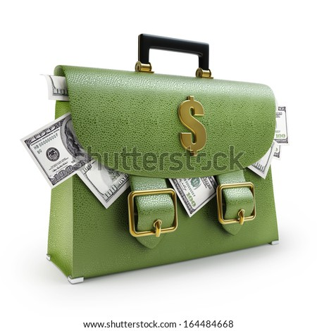 Green leather briefcase with dollars isolated on white background High resolution 3d  - stock photo
