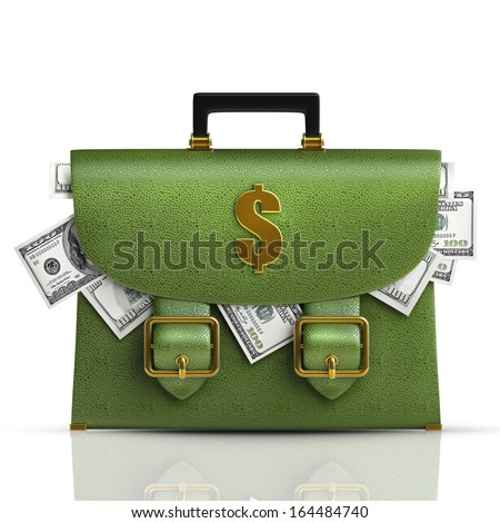 Green leather briefcase with dollars isolated on white background High resolution 3d