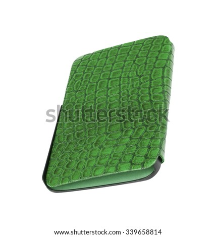 green leather case note book isolated on white background - stock photo