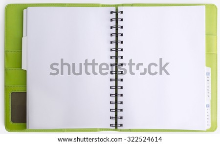 Green leather cover of binder notebook  opened on white background - stock photo