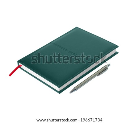 Green leather diary with pen on white background - stock photo