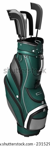 green leather golf backpack on white background.