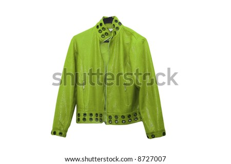 Green leather jacket isolated on the white - stock photo