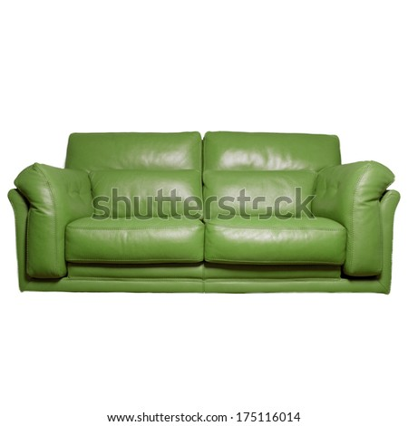 green leather sofa - stock photo