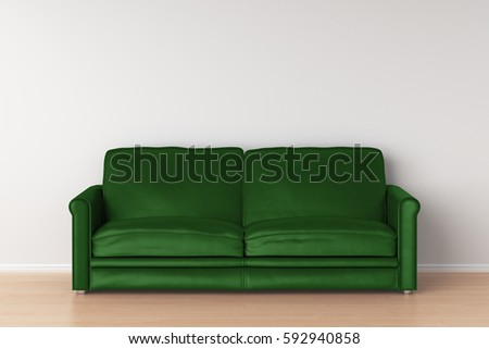 green leather sofa in interior 3d render. beautiful ideas. Home Design Ideas