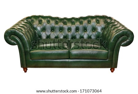 Green Leather Sofa Isolated Included Clipping Path