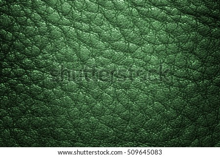 Green leather texture or leather background for design with copy space for text or image. Pattern of leather that occurs natural.